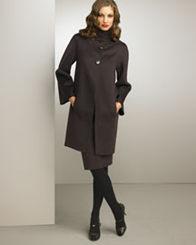 Valentino Two-Button Coat & Pencil Skirt -  Apparel -  Bergdorf Goodman :  wool pockets ruffled neckline pencil