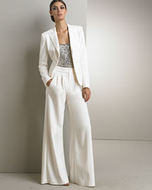 Donna Karan Collection Monte Carlo Jacket & Fluid Wide-Leg Trousers -  Donna Karan Collection -  Bergdorf Goodman :  pants jacket trousers wide-leg