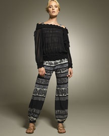 Jean Paul Gaultier Off-Shouler Blouse & Fish-Print Harem Pants -  Resort -  Bergdorf Goodman