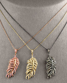 Sydney Evan Feather Pendant Necklaces -  Sydney Evan -  Bergdorf Goodman :  necklace rose pendant gold