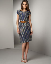 Dot-Print Sheath Dress: Ginger (beige) with marine dot print. Gathered at ballerina neckline. Puffed short sleeves. Front slash pockets. V'd back. Pure silk. Made in USA. 