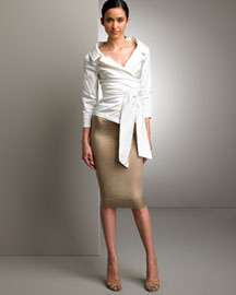 Donna Karan Collection Off-Shoulder Blouse & Draped Pencil Skirt -  Designer -  Bergdorf Goodman :  dress draped pencil skirt pencil