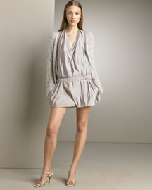 Nina Ricci Hand-Crocheted Cardigan & Drop-Waist Dress -  Nina Ricci -  Bergdorf Goodman :  skirt cardigan satin goodman