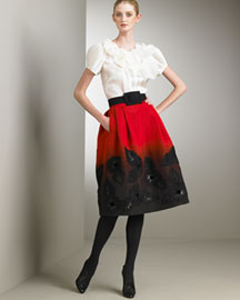 Oscar De La Renta Pleated Silk Organza Blouse & Dip-Dye Silk Faille Skirt -  Designer -  Bergdorf Goodman :  floral trend full skirt pleated organza