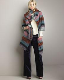 Chloe Multi-Striped Cardigan & Velvet Pants- Ready-To-Wear- Bergdorf Goodman