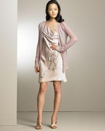 Nina Ricci Featherweight Cardigan & Embroidered Bow Dress - Nina Ricci- Bergdorf Goodman