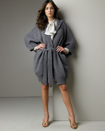 Stella McCartney Tie-Neck Dress & Drape Sweater -  Designer -  Bergdorf Goodman from bergdorfgoodman.com