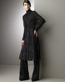 Akris Tulle Coat Dress & Frida Pants -  Designer -  Bergdorf Goodman :  evening dress fall accessories fall accessories