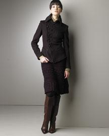 Jean Paul Gaultier            Asymmetric Jacket & Cable Knit Skirt-  Jackets-Bergdorf Goodman