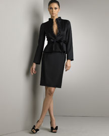 Valentino            Satin Tuxedo Jacket & Skirt-  Jackets-Bergdorf Goodman