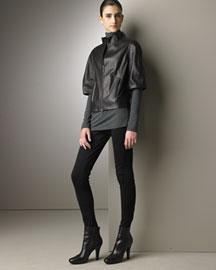 Vince Half-Sleeve Leather Jacket & Riding Pants - Looks- Bergdorf Goodman