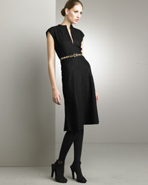 Ralph Lauren            Trish Crepe Dress & Leopard Belt-  Dresses-Bergdorf Goodman