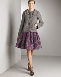 Double-Collar Jacket: Green with multicolor tweed print. Spread collar; jewel neckline. Three-button front. Long sleeves. Slit pockets. Alpaca/nylon. Made in Italy. 