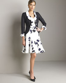 Armani Collezioni Three-Button Jacket & Floral Skirt -  Apparel  -  Bergdorf Goodman :  top navy white armani collezioni