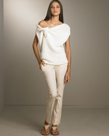 Donna Karan Tie Sweater & Zip Trousers -  Resort -  Bergdorf Goodman :  donna karan tie sweater sweater goodman bergdorf