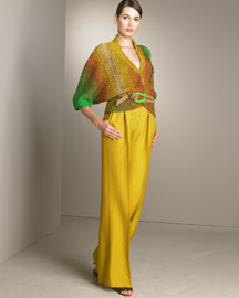 Oscar De La Renta Crochet Sweater & High-Waist Pants -  Resort Trunk Show -  Bergdorf Goodman :  chic work sweater trends
