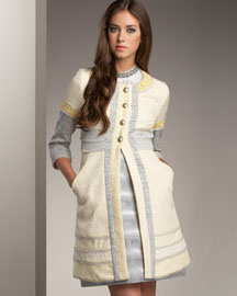 Peter Som Tweed Jacket & Shimmer Stripe Skirt- Bergdorf Goodman :  fitted at waist clothing womens gray