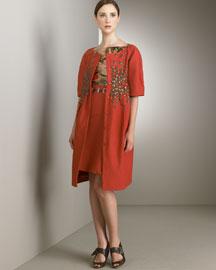 Alberta Ferretti            Elbow Sleeve Coat, Coral Belt, Straight Skirt & Cap Sleeve Top-  Alberta Ferretti-Bergdorf Goodman