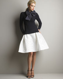 Carolina Herrera Bow Sweater & Striped Skirt- Designer- Bergdorf Goodman