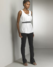 Vera Wang Pleated Neck Tank & Narrow Pants -  Vera Wang -  Bergdorf Goodman :  top and pants belted top vera wang black and white