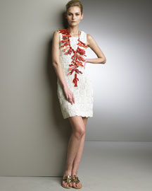 Oscar de la Renta Crocheted Dress & Coral Necklace -  Spring Collection -  Bergdorf Goodman