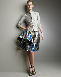 Oscar de la Renta Knit-Sleeve Jacket & Asymmetric Metallic Skirt -  Asymmetry -  Bergdorf Goodman :  jacket asymmetry incircle la