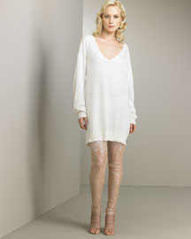 V-Neck Sweater Dress & Sequined Leggings -  Bergdorf Goodman from bergdorfgoodman.com