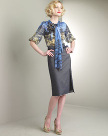 Forest-Print Silk Blouse & Ribbon Denim Pencil Skirt -  Bergdorf Goodman :  tuleh denim bergdorf goodman forest