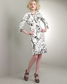 Abstract-Print Jacket & Double-Slit Skirt -  Bergdorf Goodman :  bergdorf goodman branch print suit