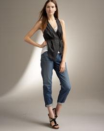 Leather Vest & Boyfriend Pants-                              Bergdorf Goodman