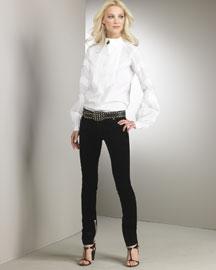 Opulent Velvet - Fall Trends - Bergdorf Goodman :  jeans roberto cavalli