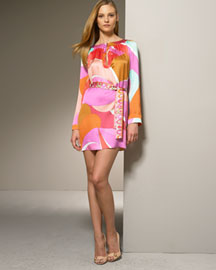 Emilio Pucci Keyhole Dress -  Dresses -  Bergdorf Goodman :  pink mod italy minidress