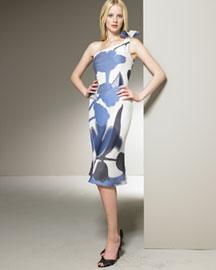 Giorgio Armani Filcoupe Dress- Dresses- Bergdorf Goodman :  floral mod flutter hem italy