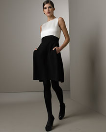 Oscar de la Renta Contrast Dress- Oscar de la Renta- Bergdorf Goodman :  wool contrasting designer italy
