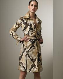 Roberto Cavalli Python-Print Trench- Designer- Bergdorf Goodman :  python italy roberto carvalli printed laurel ruffle blouse