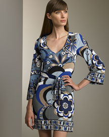 Emilio Pucci Contrast-Border Dress -  Emilio Pucci -  Bergdorf Goodman :  floral dress three-quarter sleeve mini-dress