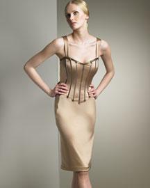 Dolce & Gabbana            Corset-Seamed Dress-  Dolce & Gabbana-Bergdorf Goodman :  lambskin bustier d and g italian fabric