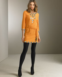 Emilio Pucci Belted Tunic Dress -  Emilio Pucci -  Bergdorf Goodman :  wool orange belted geometric