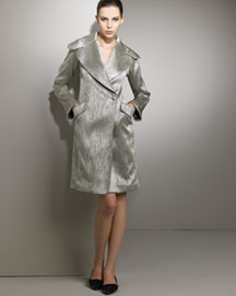 Giorgio Armani Metallic Shawl-Collar Jacket -  Women's Apparel -  Bergdorf Goodman :  jacket taupe long sleeve italy