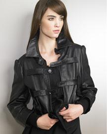 Yohji Yamamoto Cropped Leather Jacket- Designer- Bergdorf Goodman