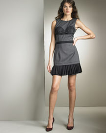 D&G Dolce & Gabbana Herringbone Minidress -  Dresses -  Bergdorf Goodman :  round neckline belt dress minidress