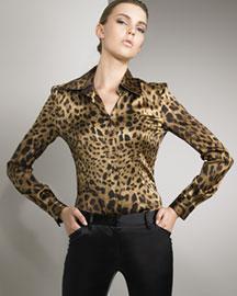 Dolce & Gabbana Leopard-Print Satin Shirt- Designer- Bergdorf Goodman