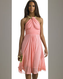 Michael Kors Snake Chain Halter Dress -  Designer -  Bergdorf Goodman :  shopping must have womens clothing full skirt