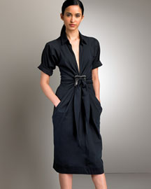 Donna Karan Collection Gathered Shirtdress -  Designer -  Bergdorf Goodman :  shopping goodman donna karen karan