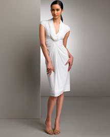Donna Karan Collection Draped Jersey Dress -  Designer -  Bergdorf Goodman :  skirt silk dress pencil gathered