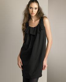 Black. Pleated yoke. Scoop neckline; sleeveless. Viscose/wool. Made in Italy.