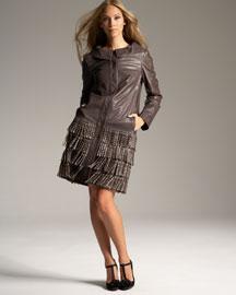 Alberta Ferretti Stud & Fringe Leather Coat- Designer- Bergdorf Goodman