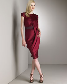 Burgundy. Draped at jewel neckline. Short sleeves. Banded natural waist. Crepe satin. Made in Italy. :  bergdorf goodman dress draped mcqueen