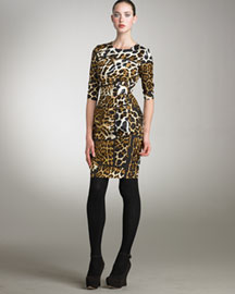 Yves Saint Laurent Patchwork Leopard-Print Dress -  Sleeves -  Bergdorf Goodman