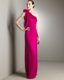 Valentino Silk Satin Lavato Gown -  Designer Collections  -  Bergdorf Goodman :  dresses valentino ruched one-shoulder